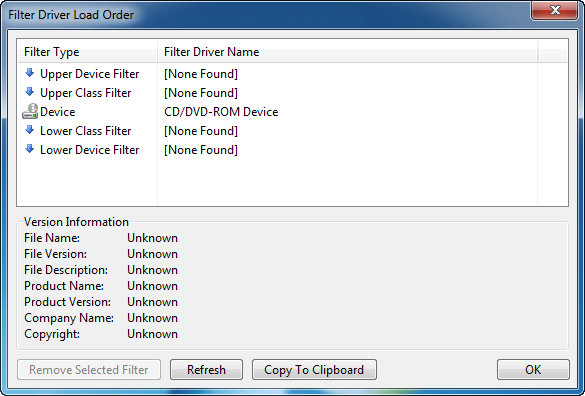 Screenshot - Filter Driver Load Order