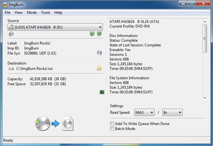 screenshot read ImgBurn, Free CD/DVD Burning and Backup Tool